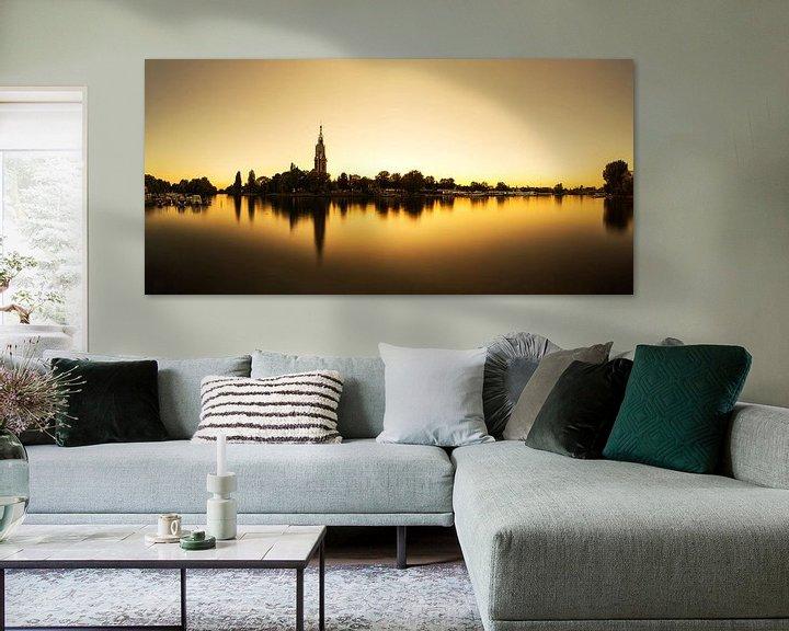 Sfeerimpressie: Potsdam-skyline op de Havel bij zonsondergang van Frank Herrmann