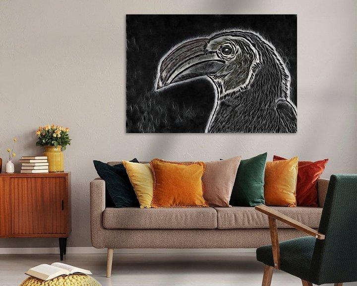 Beispiel: Nashornvogelzeichnung / bearbeitet. von Jose Lok