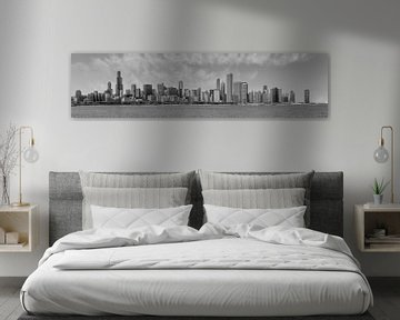 Chicago Skyline | Panorama Monochrom von Melanie Viola