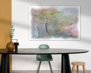 Abstract roze groen blauw van Maurice Dawson