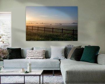 Nederlands landschap zonsondergang zonsopgang weiland van Déwy de Wit