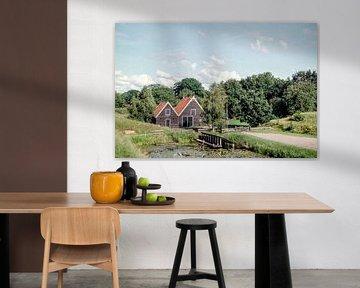 Houten huizen Bourtange I Groningen I Analoog I Vintage kleurenprint van Floris Trapman