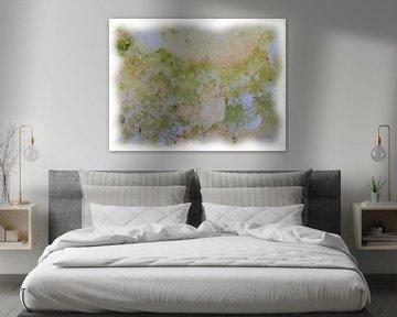 Abstraktes Grün Weiß Rosa von Maurice Dawson