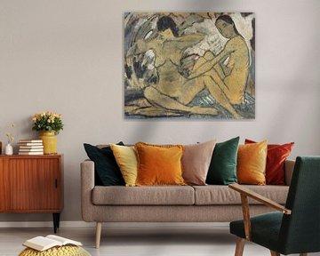 Gehurkt meisje, Otto Mueller - ca 1914 van Atelier Liesjes