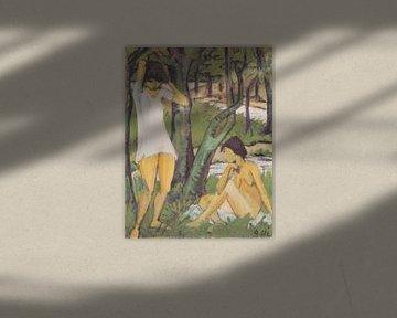 Twee meiden baden (meisje in shirt), Otto Mueller - 1921 van Atelier Liesjes