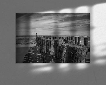 zeeland kust met paalhoofden in zwart wit van anne droogsma