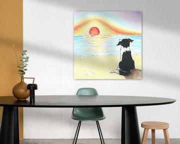 Sendie genießt den Sonnenuntergang am Meer von Rianne Brugmans van Breugel