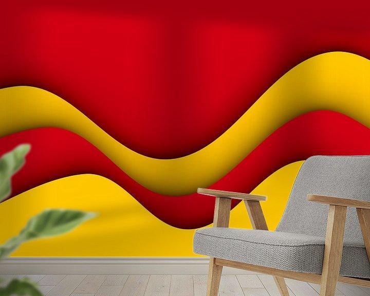 Sfeerimpressie behang: Golven rood en geel van Jörg Hausmann