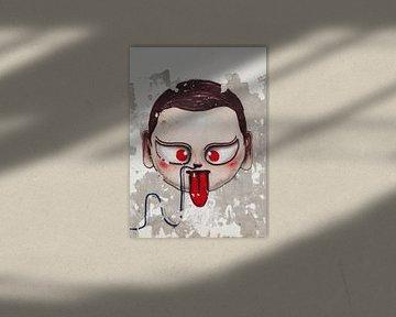 Street art portret op een geweven muur van Tony Vingerhoets