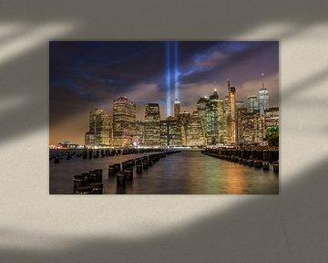 9/11 tribute in light Lower Manhattan van Natascha Velzel
