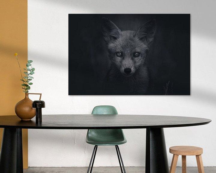 Sfeerimpressie: Portret van een jonge vos in de Nederlandse natuur in zwart-wit van Maarten Oerlemans