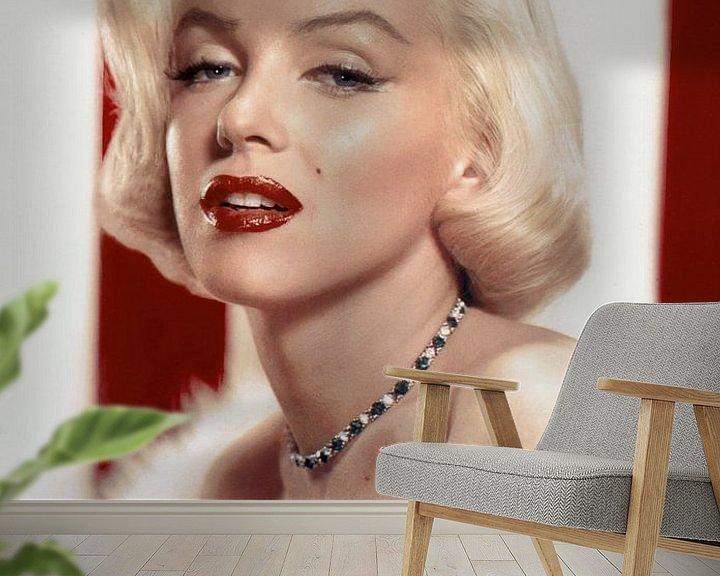 Beispiel fototapete: Marilyn Monroe schwül, mit roten Lippen von Atelier Liesjes