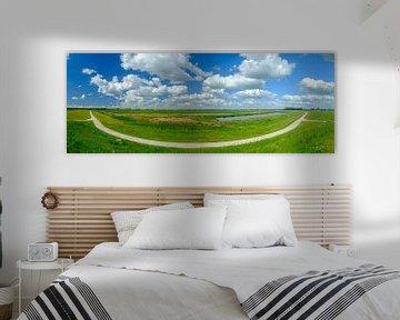 Reevediep waterweg bij Kampen in de IJsseldelta panorama van Sjoerd van der Wal