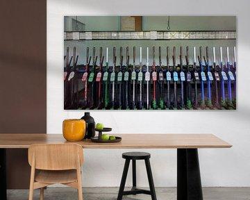 Interieur seinhuis met hendels, België I Retro look - industrieel I Art kleurenprint van Floris Trapman