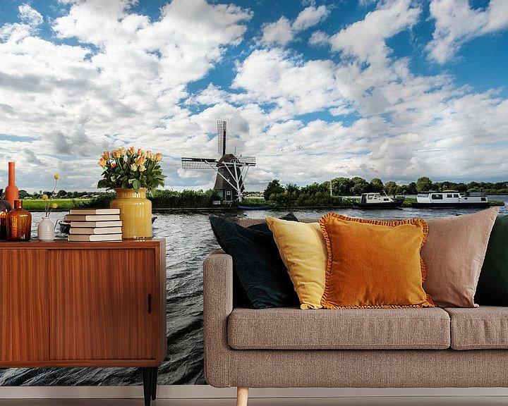 Sfeerimpressie behang: Oude Windmolens in Nederland. van Brian Morgan