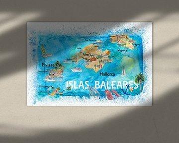 Geïllustreerde reiskaart van de Balearen met bezienswaardigheden en hoogtepunten van Mallorca Ibiza  van Markus Bleichner