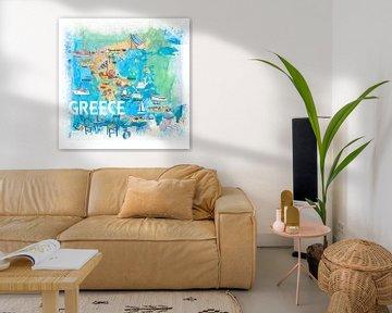 Geïllustreerde reiskaart voor Griekenland met bezienswaardigheden en hoogtepunten van Markus Bleichner