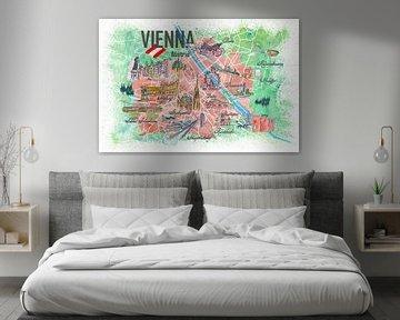 Wenen Oostenrijk Geïllustreerde kaart met wegmarkeringen en hoogtepunten van Markus Bleichner