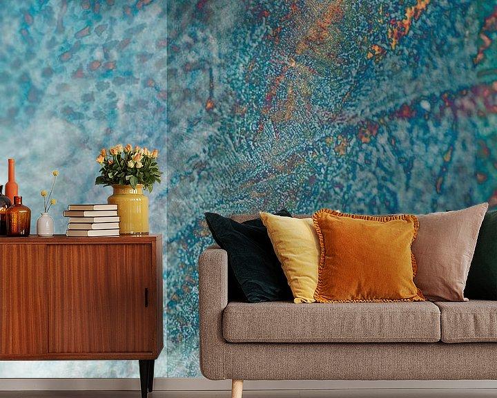 Sfeerimpressie behang: Stone (steen) - Blauw abstract textuur, digitale compositie van John Quendag