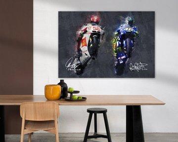 Ölgemälde-Porträt von Marco Simoncelli & Valentino Rossi Version 1 von Bert Hooijer