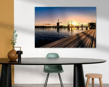 Zonsondergang bij de molens, nederland van Michael Bollen