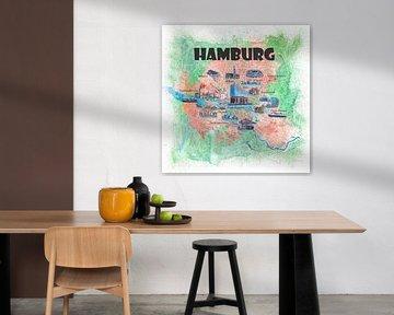 Hamburg Duitsland reisposterfavorietkaart met toeristische trekpleisters van Markus Bleichner
