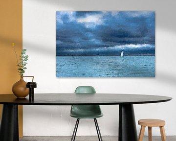 Naviguer sur l'Escaut occidental sous un ciel nuageux et sombre (peinture) sur Art by Jeronimo