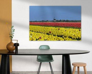 Niederländisches Bild mit Tulpen und einer Mühle von Renzo de Jonge