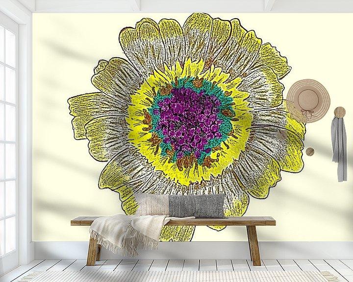 Beispiel fototapete: Gänseblumenzeichnung / Radierung von Jose Lok