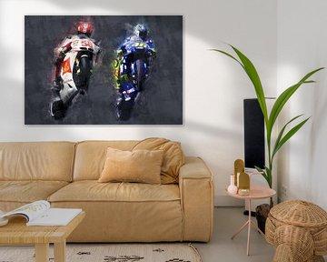 Olieverf portret van Marco Simoncelli & Valentino Rossi versie 2 van Bert Hooijer