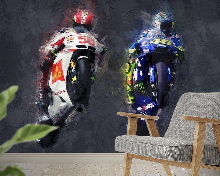 Beispiel fototapete: Ölgemälde-Porträt von Marco Simoncelli & Valentino Rossi Version 2 von Bert Hooijer