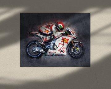 Ölgemälde-Porträt von Marco Simoncelli Version 2 von Bert Hooijer