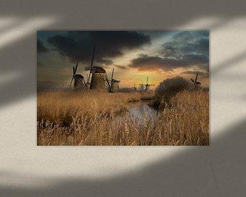 Molens bij Kinderdijk Nederland van Gert Hilbink