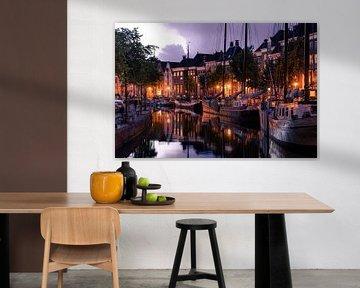 Hoge der A in de avond/nacht | Lage der A, Abrug Groningen van Hessel de Jong