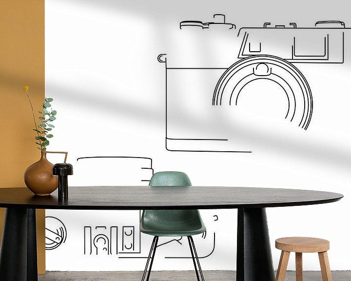 Beispiel fototapete: Analogkamera-Silhouette (Yashica Electro 35 GX-Stil) von Drawn by Johan