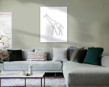 Giraffe One Line wit van DominixArt