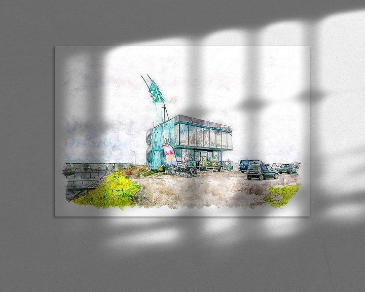 Beispiel: Strandrestaurant De Punt in Vlissingen (Aquarell) von Art by Jeronimo