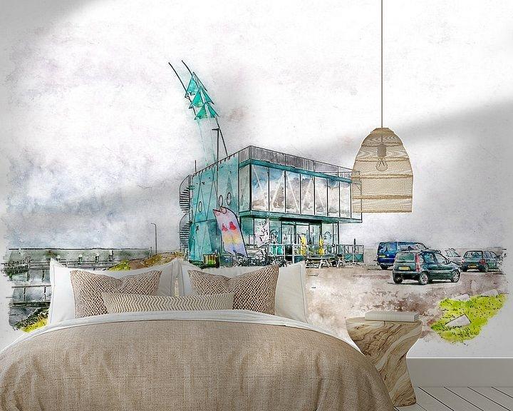 Beispiel fototapete: Strandrestaurant De Punt in Vlissingen (Aquarell) von Art by Jeronimo