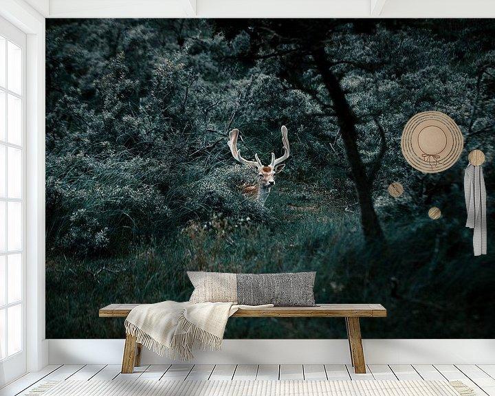 Sfeerimpressie behang: Dear in the woods. van Dylan Barkley