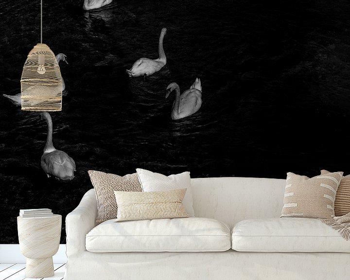 Sfeerimpressie behang: Zwanenmeer van Renske van Lierop