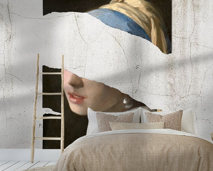 Sfeerimpressie behang: Meisje Met De Parel – The Torn Apart Edition van Marja van den Hurk