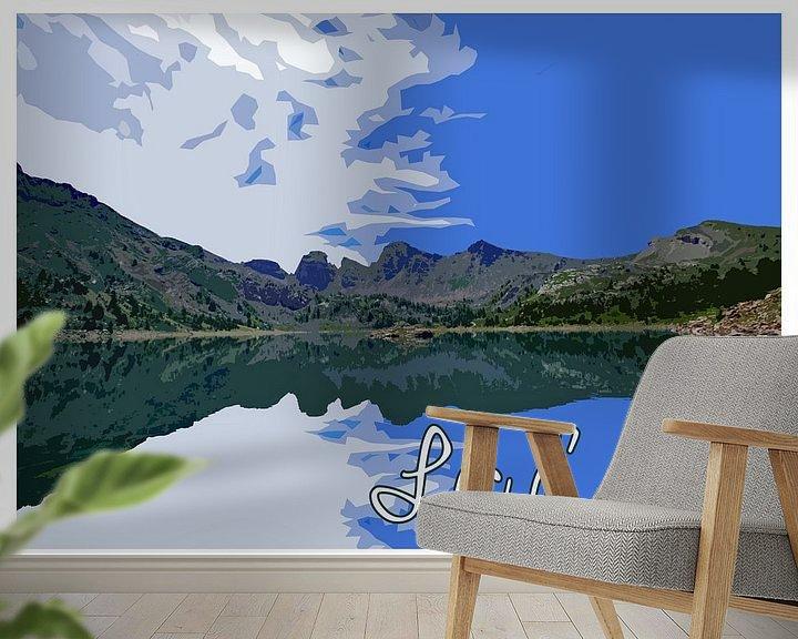 Beispiel fototapete: Vintage Poster Lac d'Allos, Frankreich von Discover Dutch Nature