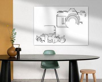Analogkamera-Silhouette (Canon AE-1-Stil) von Drawn by Johan
