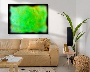 Abstract groen geel van Maurice Dawson