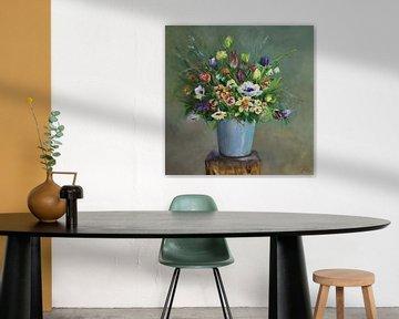 Ölgemälde Blaue Vase mit Blumen von Joke Klootwijk
