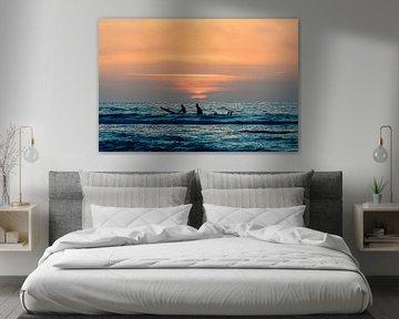 Surfers genieten van  de zonsondergang bij Terschelling van Surfen - Alex Hamstra Photography