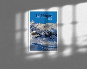 Vintage-Poster, La Plagne Frankreich von Discover Dutch Nature
