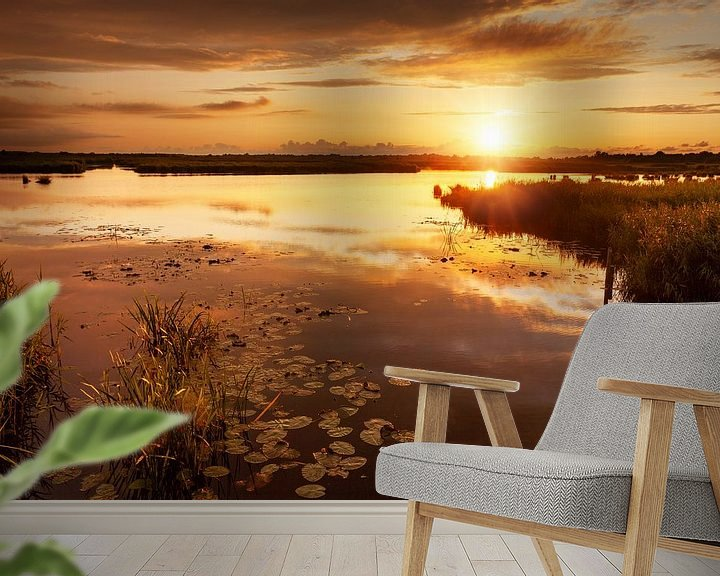Sfeerimpressie behang: Gouden Zonsondergang De Onlanden van R Smallenbroek