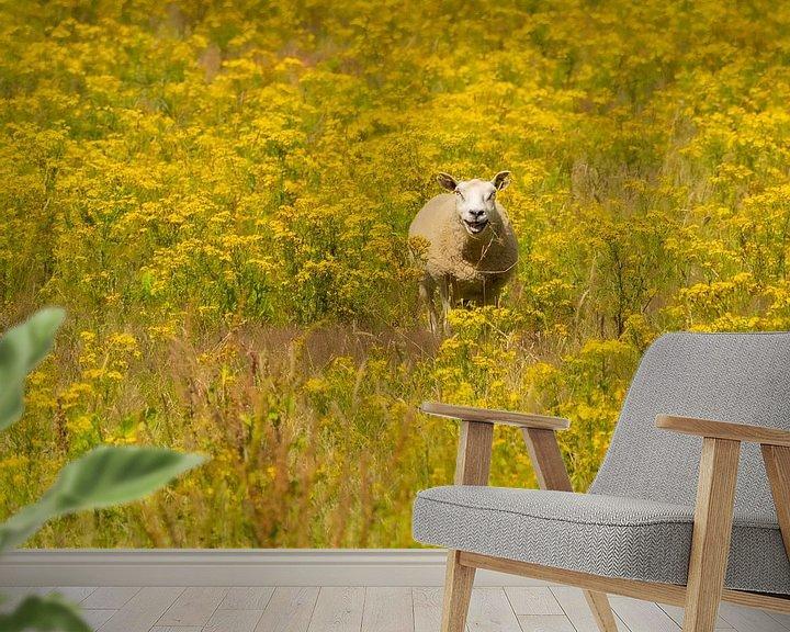 Beispiel fototapete: Schafe zwischen den gelben Blüten von Wendy Drent