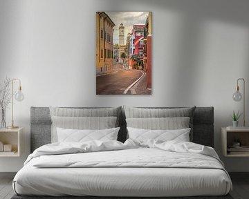 Italië, Gardameer, Castelletto | Italiaans dorp in de ochtend zon van Hessel de Jong